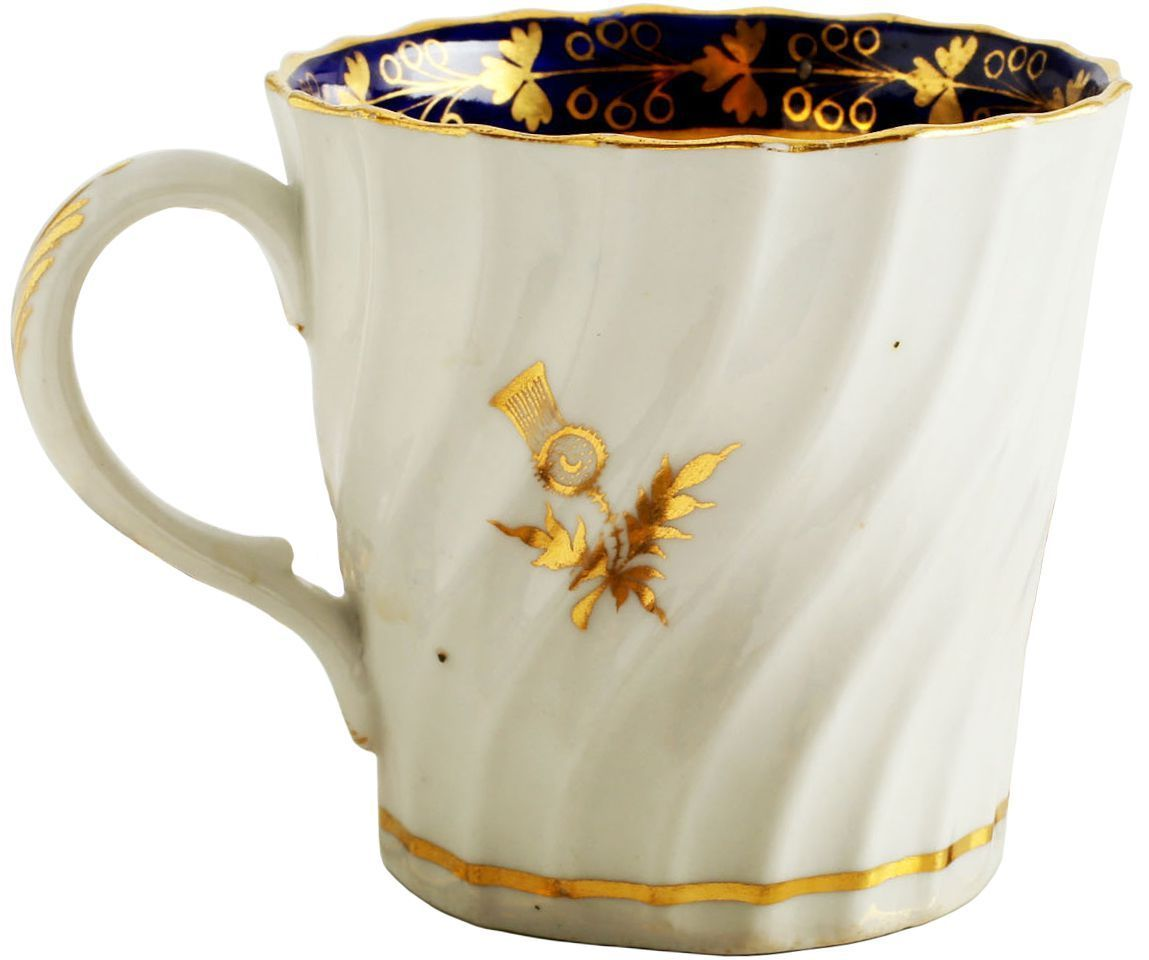 Rare Scottish Motif First Period Worcester Coffee Cup C.1770 - Product