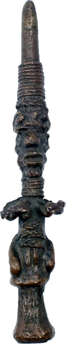 Rare Slavery Depiction On Yoruba Bronze Divination Tapper - Product