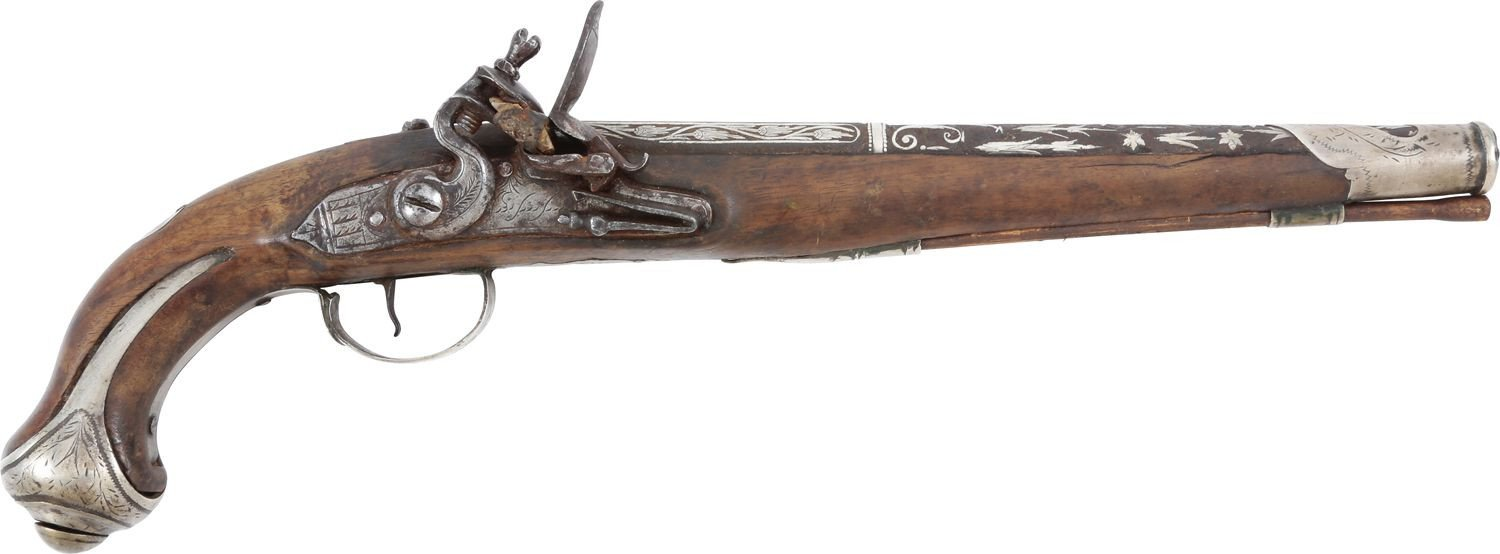 SILVER MOUNTED TURKISH FLINTLOCK PISTOL - Fagan Arms
