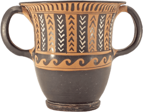 VERY FINE SOUTH ITALIAN BLACK GLAZED POTTERY SESSIL KANTHAROS