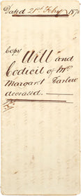 WILL AND CODICIL OF MARGARET BARLOW 1870