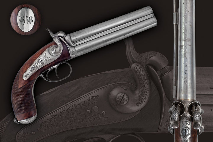 A Fine French Over And Under Percussion Pistol By F P Caron Paris 1852-74, Gunmaker To Napoleon III