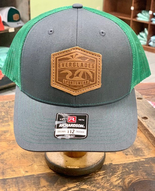 Everglades Leather Patched Logo Snapback-Charcoal and Hunter Green