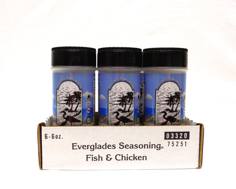 Everglades Fish and Chicken Seasoning Case of 6-6oz Shakers