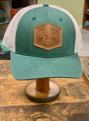 Everglades Leather Patched Logo Snapback-Faded Green and Heather