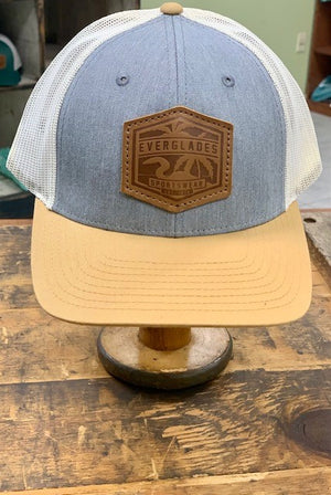 Everglades Leather Patched Logo Snapback-Golden, Heather and Cream
