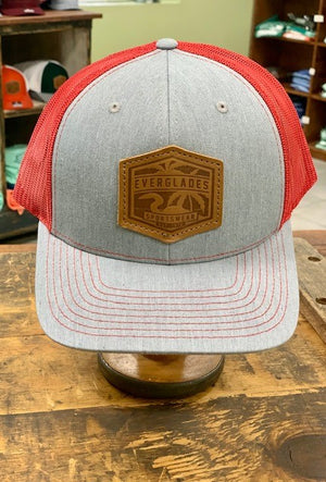 Everglades Leather Patched Logo Snapback-Heather and Red