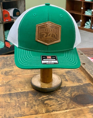 Everglades Leather Patched Logo Snapback-Green and White