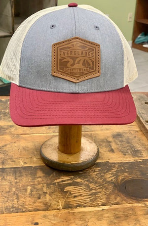 Everglades Leather Patched Logo Snapback-Maroon, Heather and Cream