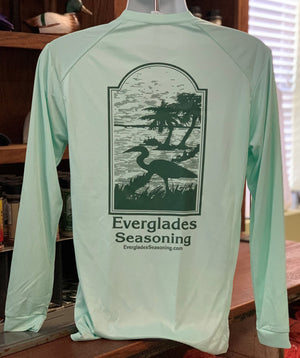 Everglades Sportswear Mint and Dark Green Fishing Shirt