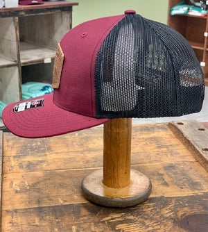 Everglades Leather Patched Logo Snapback-Maroon and Black