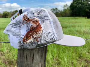 Everglades Sportswear Leather Patch Fishing Performance Mesh Hats - Redfish