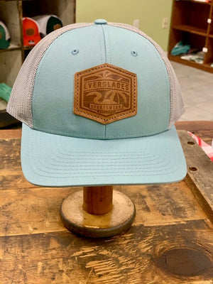 Everglades Leather Patched Logo Snapback-Robin and Heather