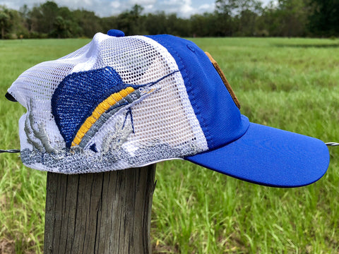 Everglades Sportswear Leather Patch Fishing Performance Mesh Hats - Sailfish
