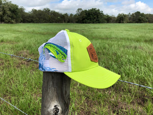 Everglades Sportswear Leather Patch Fishing Performance Mesh Hats - Mahi