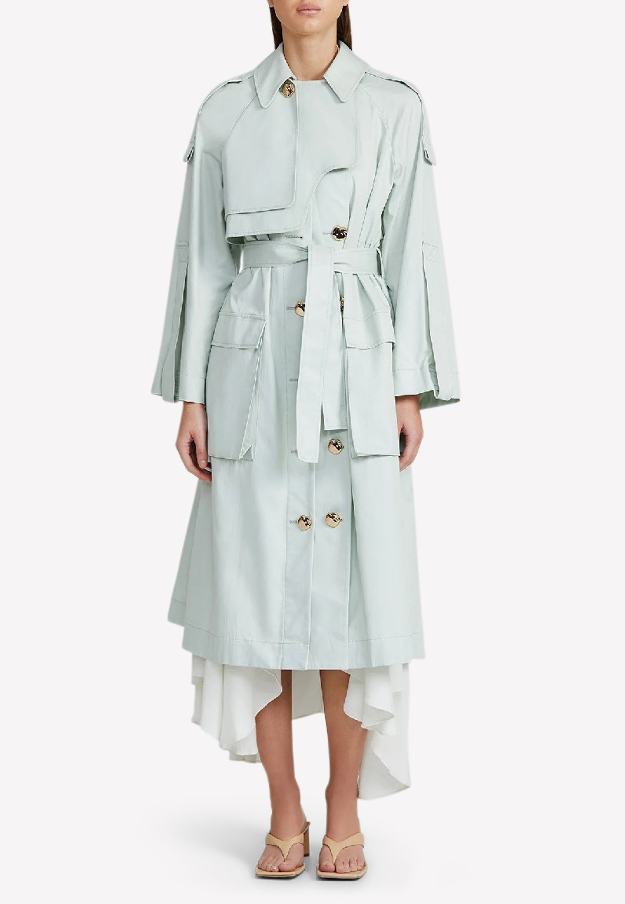 Acler Alston Cotton Trench Coat In Oversized Fit In Green