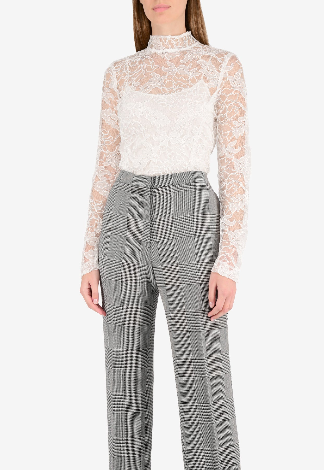 Bibhu Mohapatra High-neck Lace Top In White
