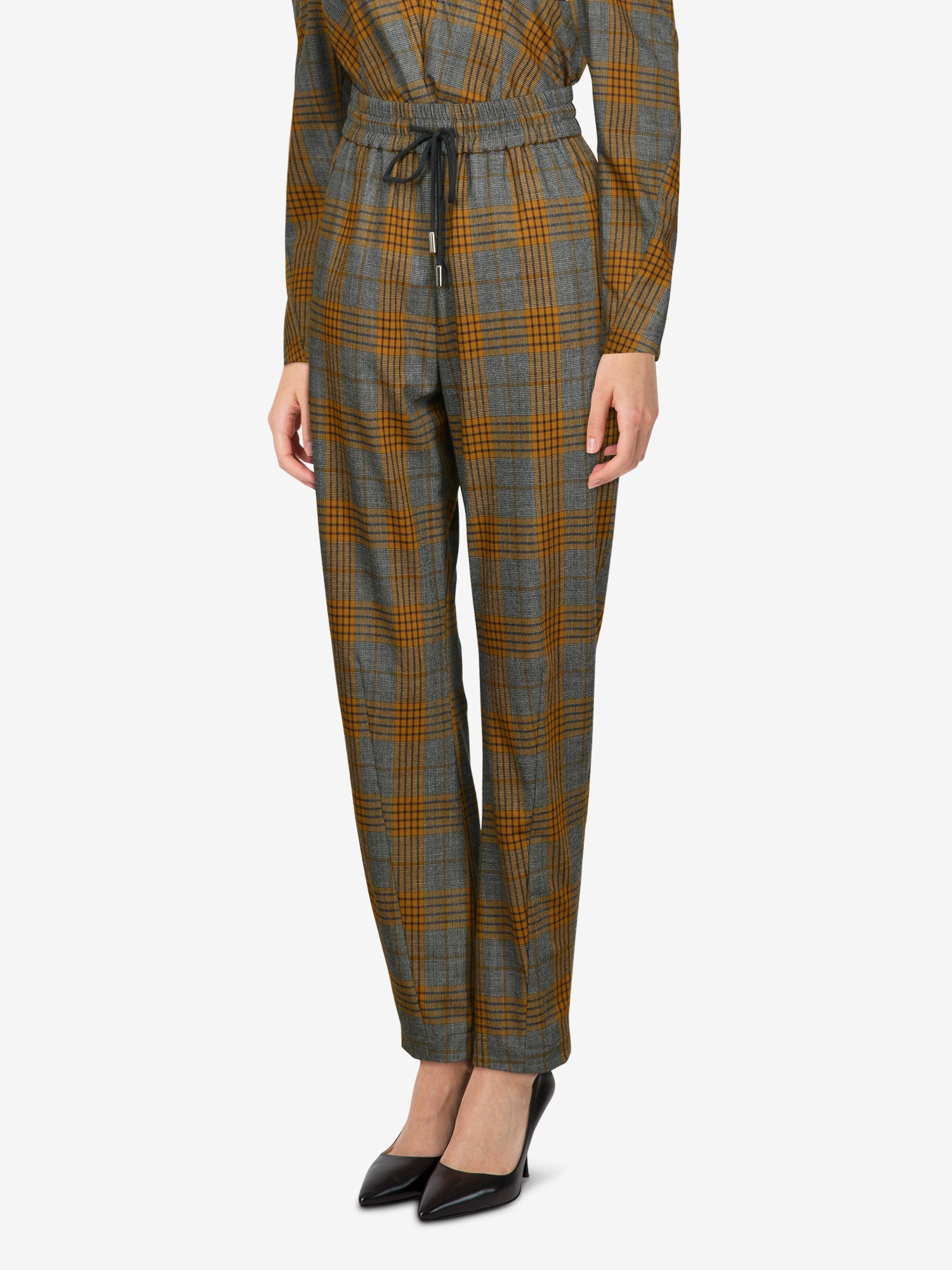 Dawei Checked Straight-leg Pants In Brown
