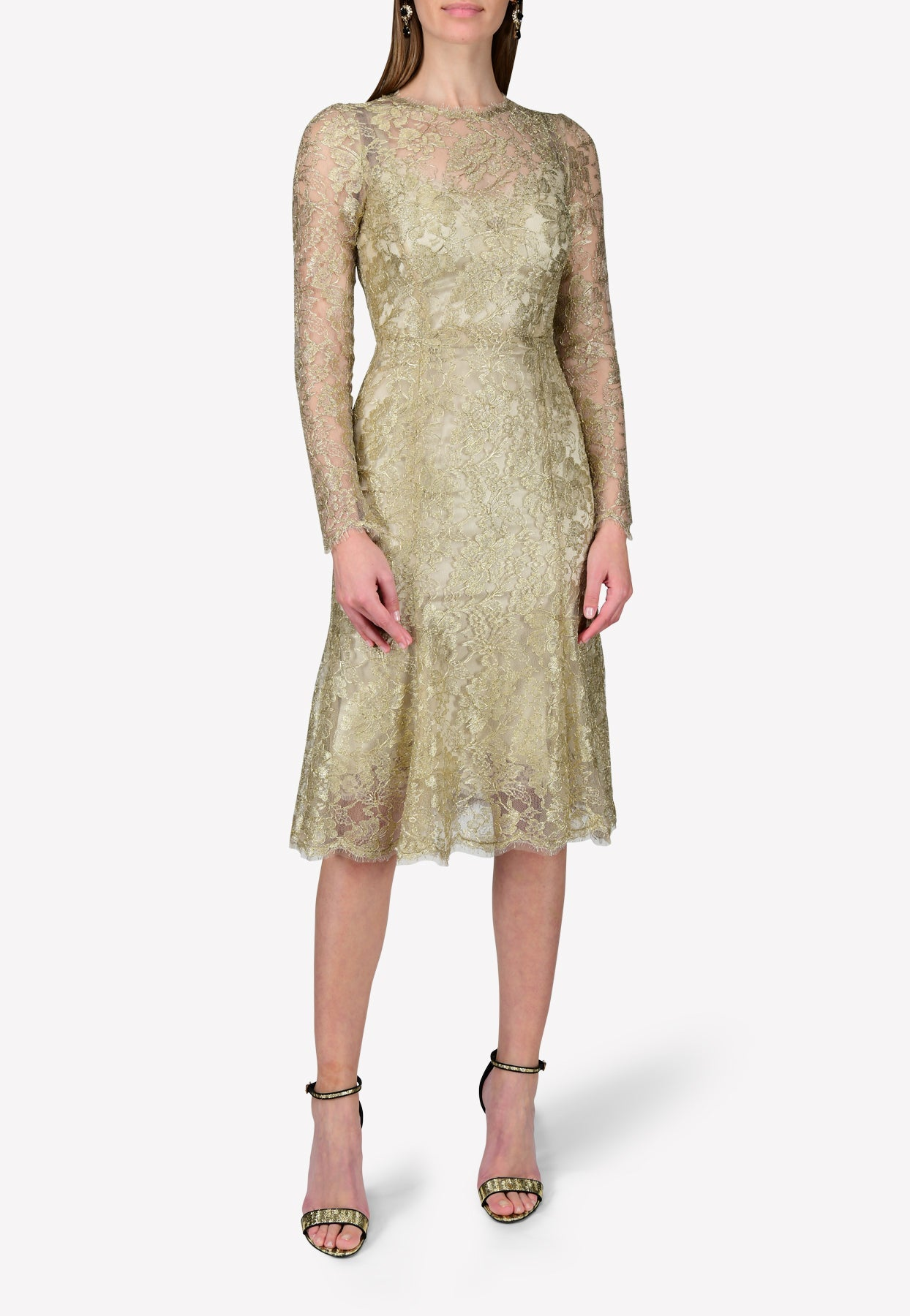 Dolce & Gabbana Chantilly Lace Midi Dress In Long Sleeves In Green