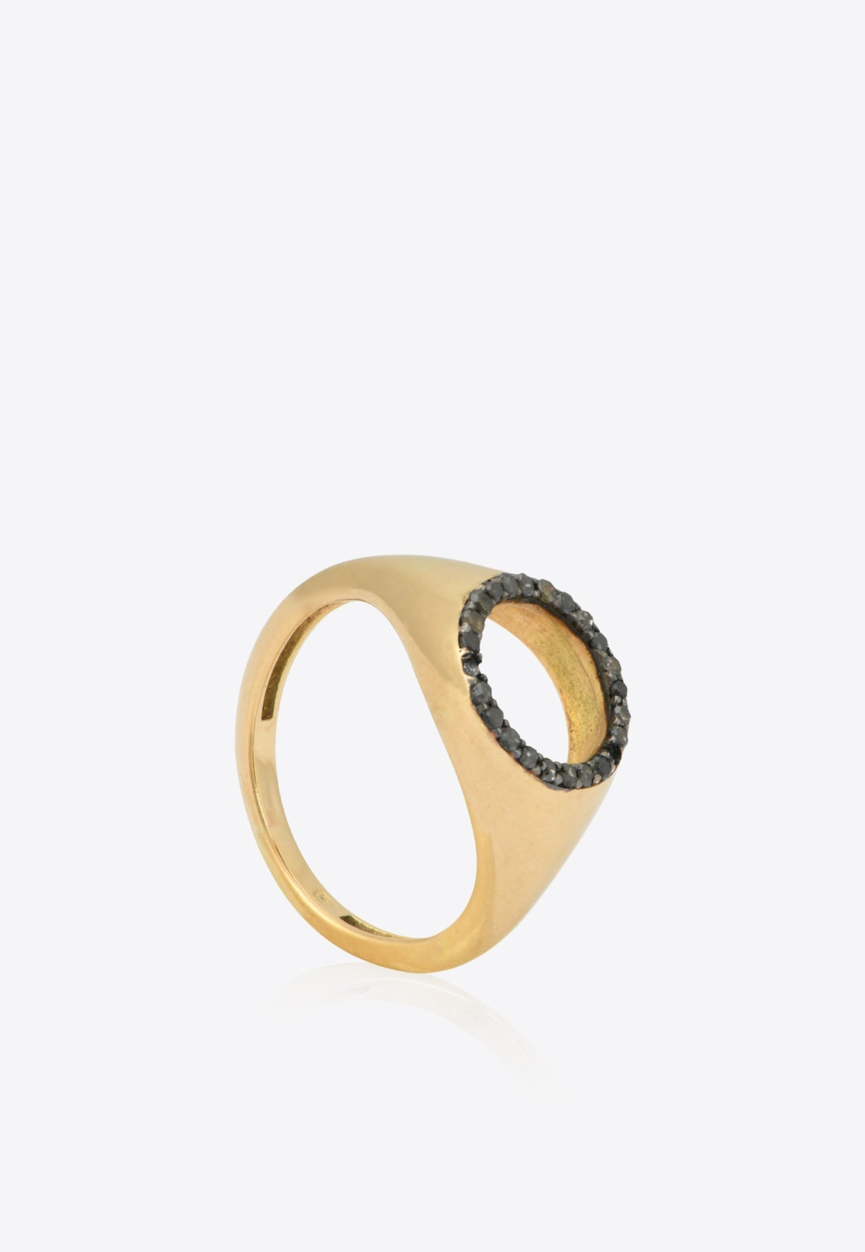 Gemmed Cut-out Pinky Ring In 18-karat Yellow In Gold