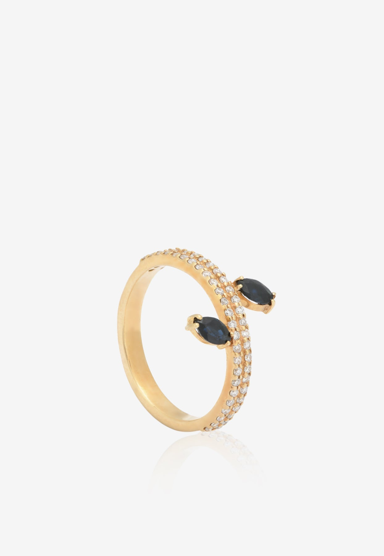 Gemmed Double Skinny Ring With Floating Dark Blue Marquise Sapphire And White Diamonds In Gold
