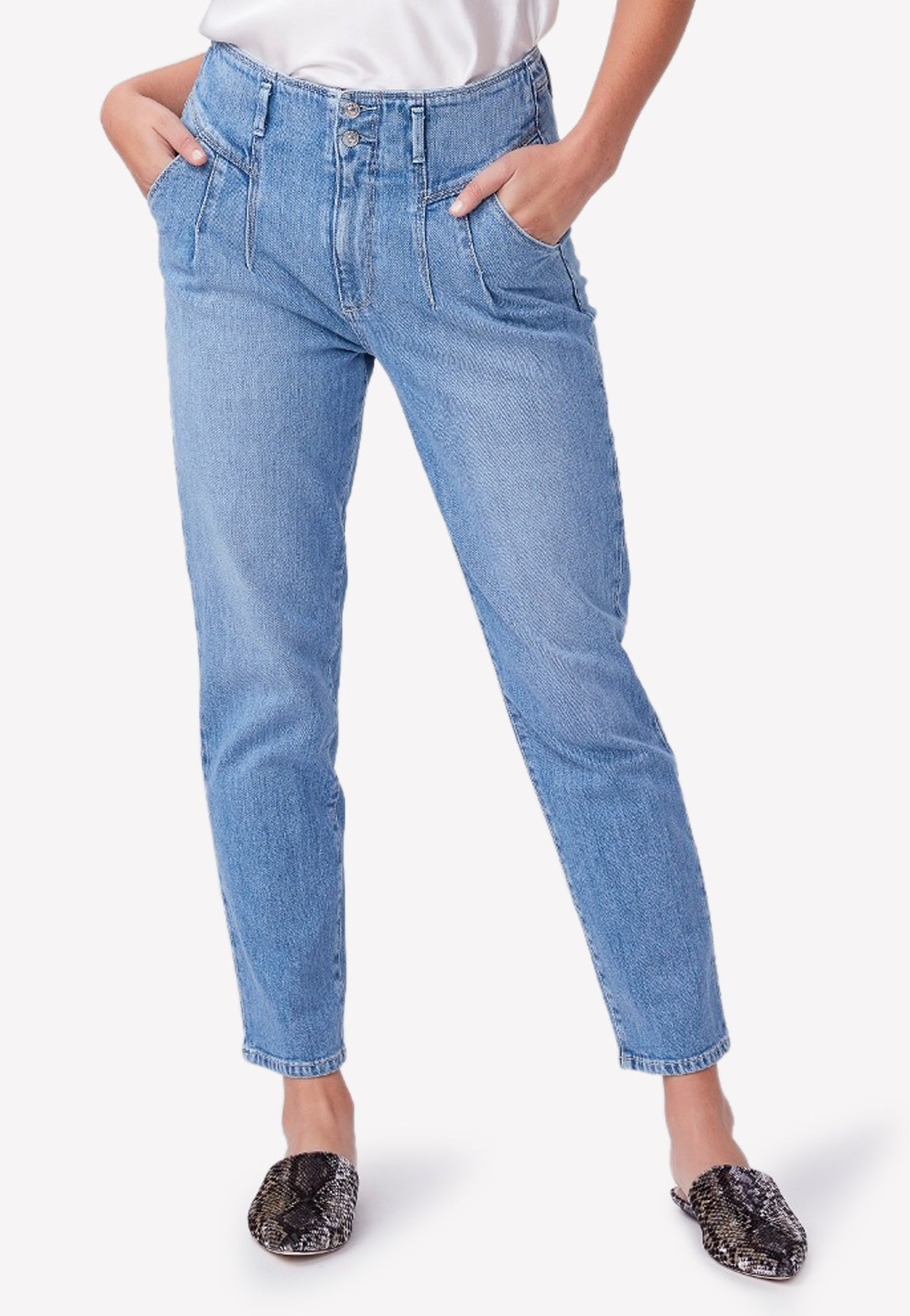 Paige Sarah Straight Ankle Cotton Jeans In Blue