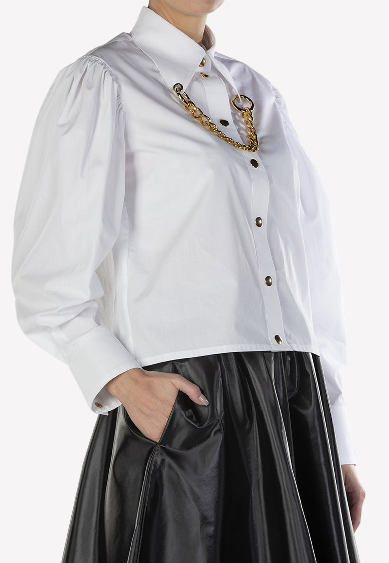 Victoria / Tomas Cotton Shirt With Gold Tone Chain In White