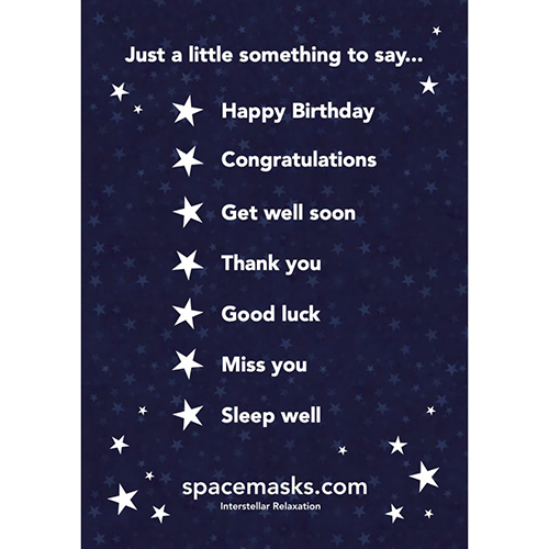 Spacemasks A5 greeting card (single Spacemask enclosed)