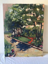 Load image into Gallery viewer, Original landscape painting, plein air Oil painting on canvas, floral painting, gifts for her, home decor, wall art, new england garden