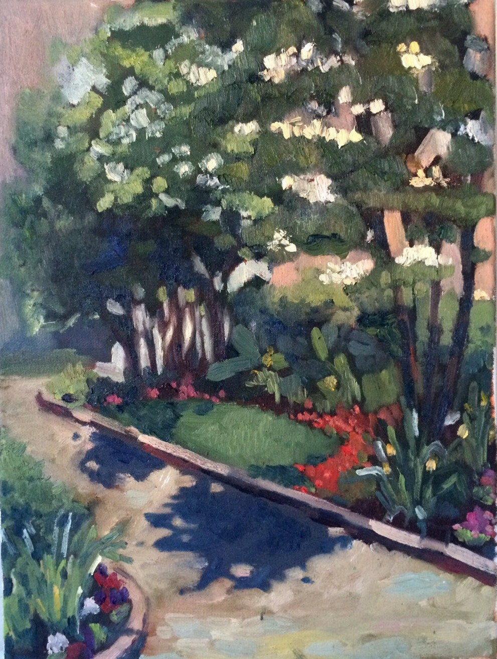 Original landscape painting, plein air Oil painting on canvas, floral painting, gifts for her, home decor, wall art, new england garden