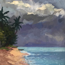 Load image into Gallery viewer, Original Seascape Oil Painting on Canvas, Caribbean Tropical Beach painting Guadeloupe Island art. Ocean tropical painting on canvas