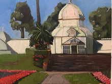 Load image into Gallery viewer, Painting on canvas San Francisco Conservatory of Flowers Plein Air Allaprima Landscape Golden Gate Park Free US Delivery