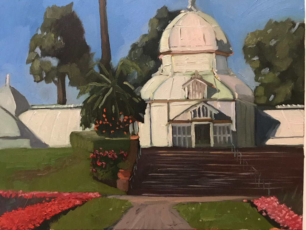 Painting on canvas San Francisco Conservatory of Flowers Plein Air Allaprima Landscape Golden Gate Park Free US Delivery