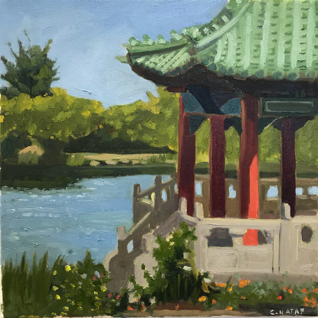 Original Painting Oil on Canvas San Francisco Chinese Pavillion Golden Gate Park Painting Plein Air Allaprima