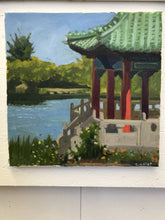 Load image into Gallery viewer, Original Painting Oil on Canvas San Francisco Chinese Pavillion Golden Gate Park Painting Plein Air Allaprima