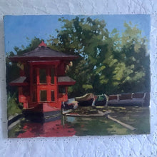Load image into Gallery viewer, Plein Air Oil Painting Regent's canal London. Oil on canvas, original art, painted on location in London park. Feng shang princess painting