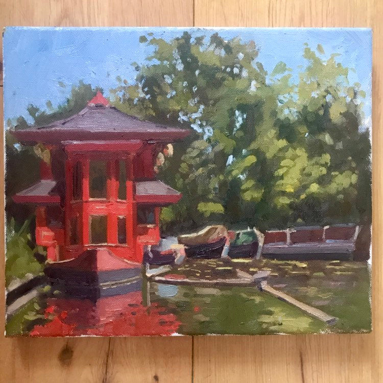 Plein Air Oil Painting Regent's canal London. Oil on canvas, original art, painted on location in London park. Feng shang princess painting