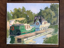Load image into Gallery viewer, Oil painting on canvas L'Isle Adam original art paysage val d'oise french landscape painting boats on the Oise river marine painting