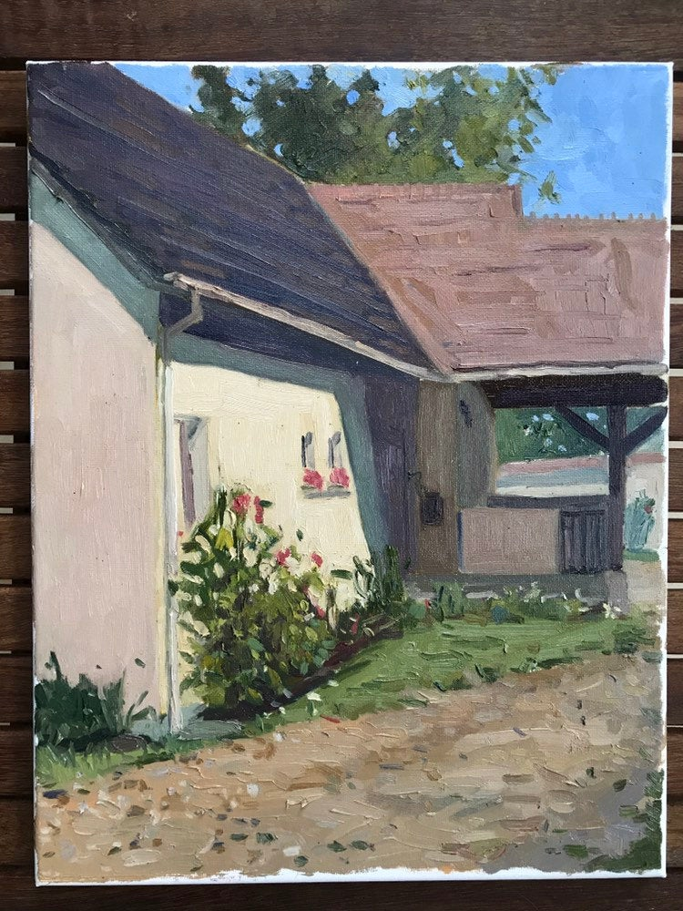 Oil painting on canvas portrait of a house original art val d'oise french landscape painting home with a garden