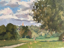 Load image into Gallery viewer, Landscape painting Hampstead Heath Park London Plein Air Painting Oil on Canvas Original London Panoramic View