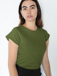 Women's Solid Olive Green Half Sleeves
