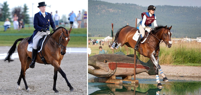 Left: Amy Tyron rides Leyland in the advanced dressage test last year; Right: Jordan Linstedt and Revitavet Capato ride across one of the water obstacles in last year's 2*