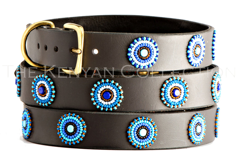 Blue/Brown Circles Dog Collar by TKC