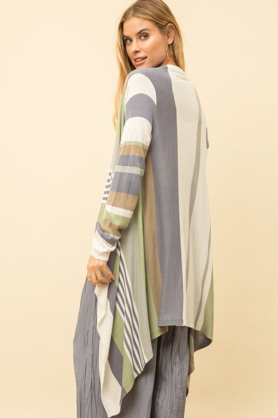 MULTI-COLOR DRAPE FRONT CARDIGAN