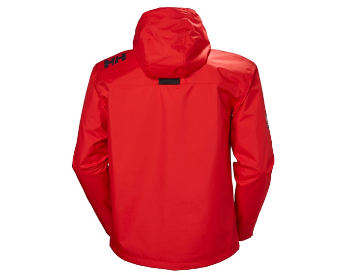 HELLY HANSEN MEN'S CREW HOODED JACKET ALERT RED