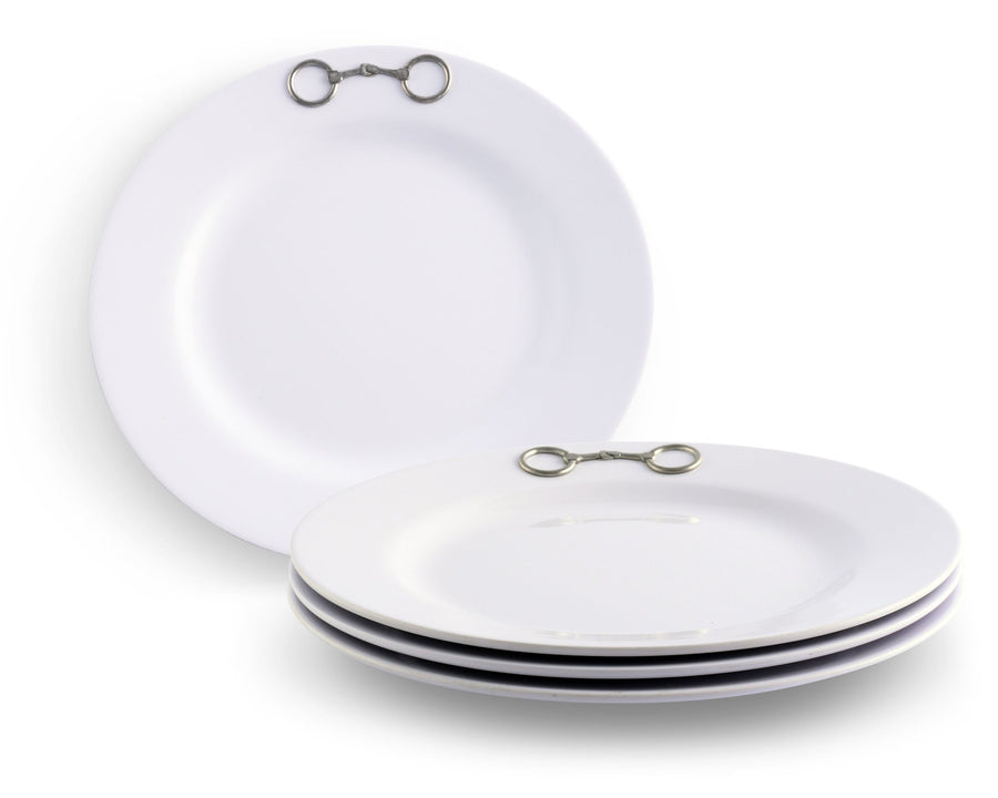 EQUESTRIAN BIT MELAMINE LUNCH PLATES - SET OF 4