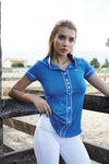 For Horses Alzira Womens Show Shirt Light Blue Pois or Blue Pois