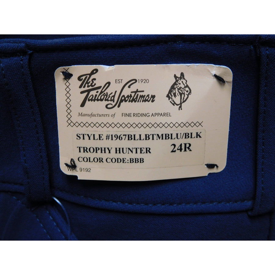 TS 1967 Bell Bottom Blue w/Black Knee Patch Low Rise Front Zip Breech - Exceptional Equestrian