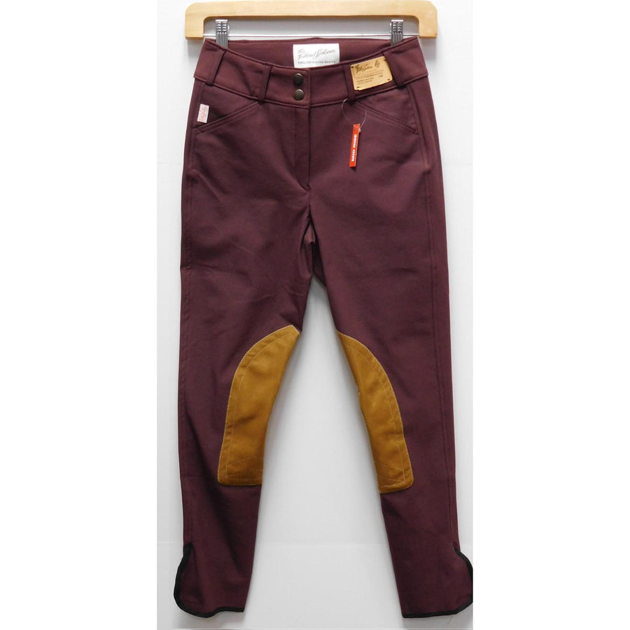 TS 1963 Bourdeaux /Tan Knee Patch Mid-Rise Front Zip Breeches