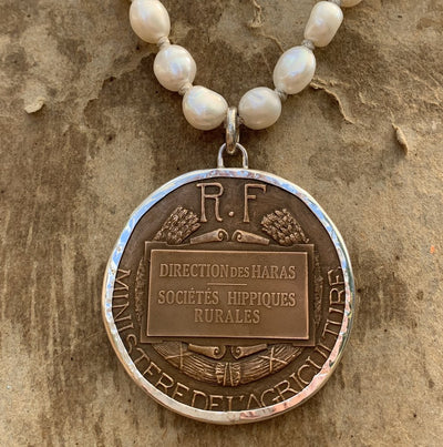 Cavalerie Rurale Medal on Pearls by Sally Lowe